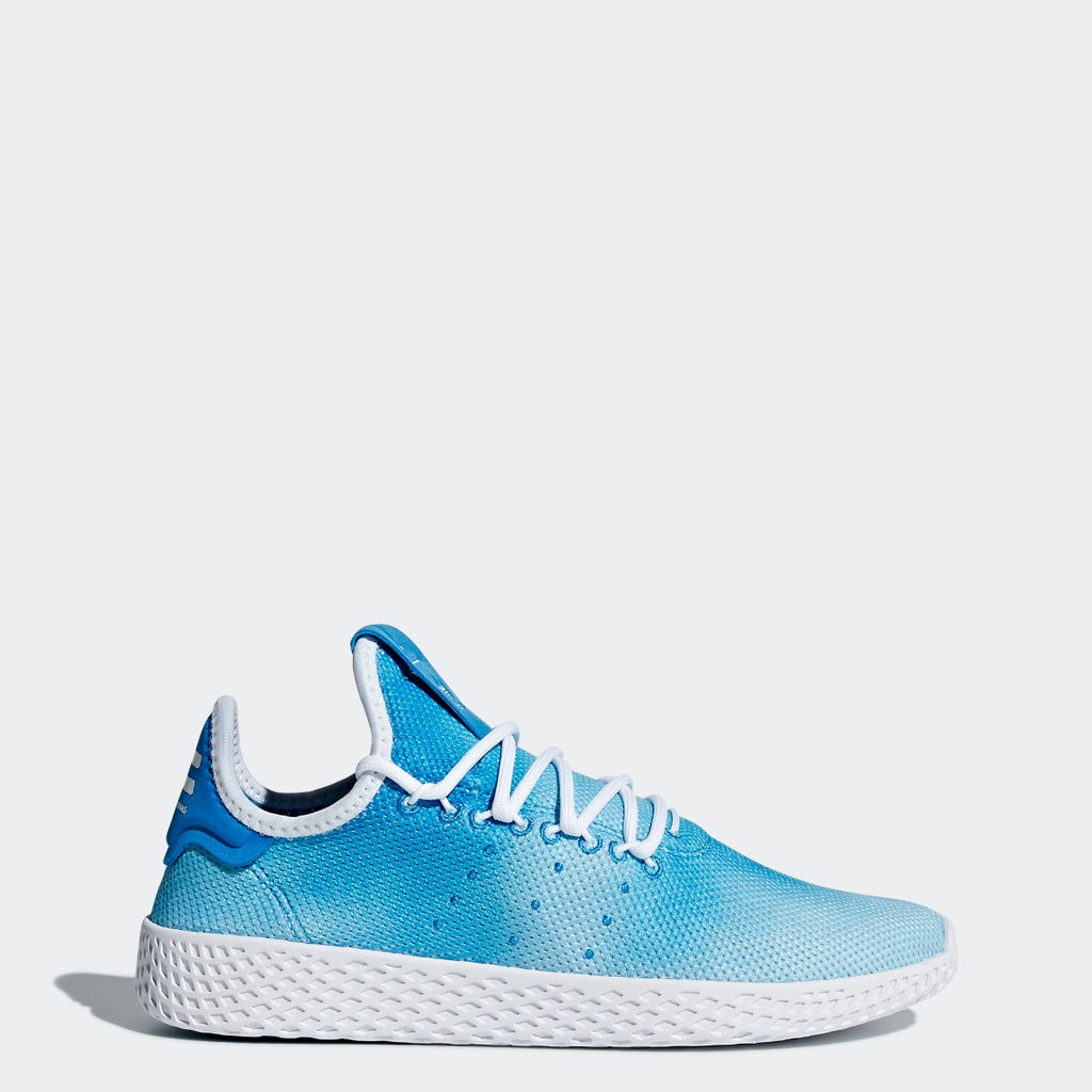 Kid's adidas Originals Pharrell Williams Tennis Hu Shoes Bright Blue with Cloud White CQ2300 | Chicago City Sports | side view
