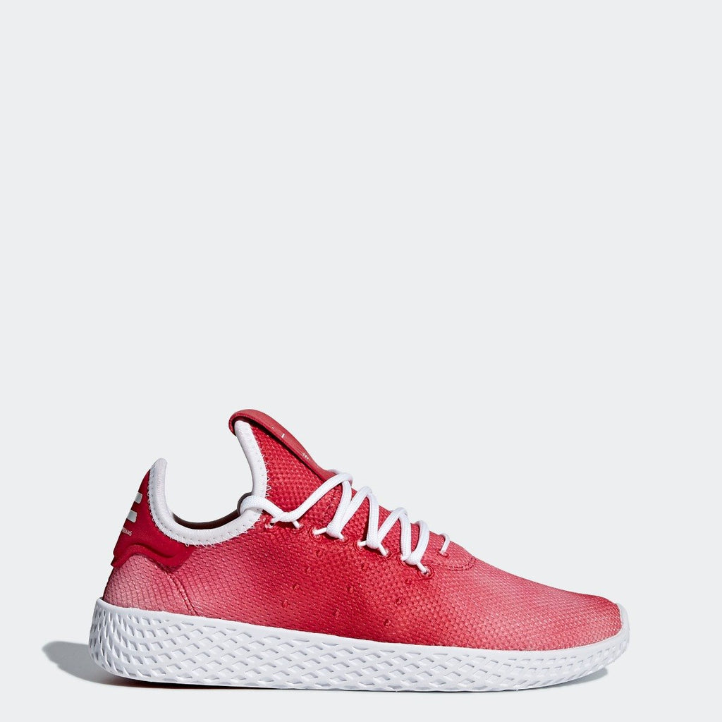 Kid's adidas Originals Pharrell Williams Tennis Hu Shoes Scarlet Red with Cloud White SKU CQ2301 | Chicago City Sports | side view