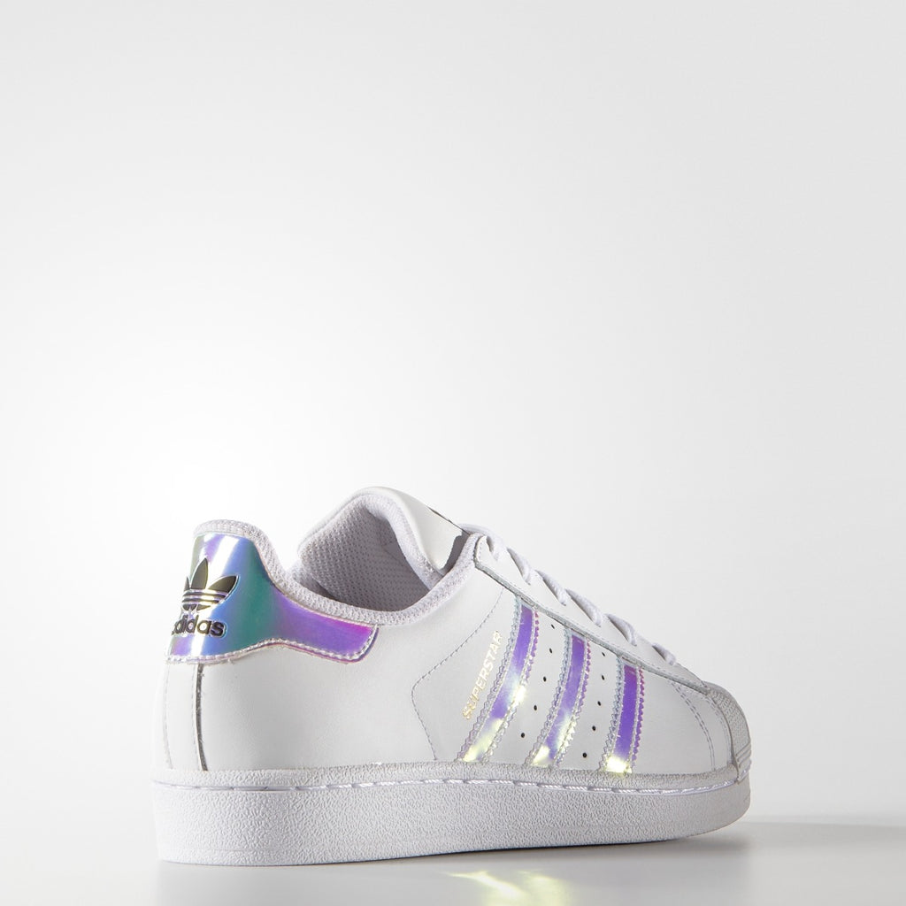 Kids adidas Superstar Shoes White Hologram Iridescent AQ6278 | Chicago City Sports | rear view