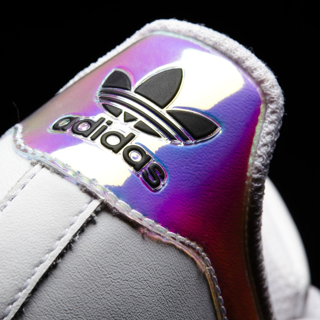 Kids adidas Superstar Shoes White Hologram Iridescent AQ6278 | Chicago City Sports | detailed heel view