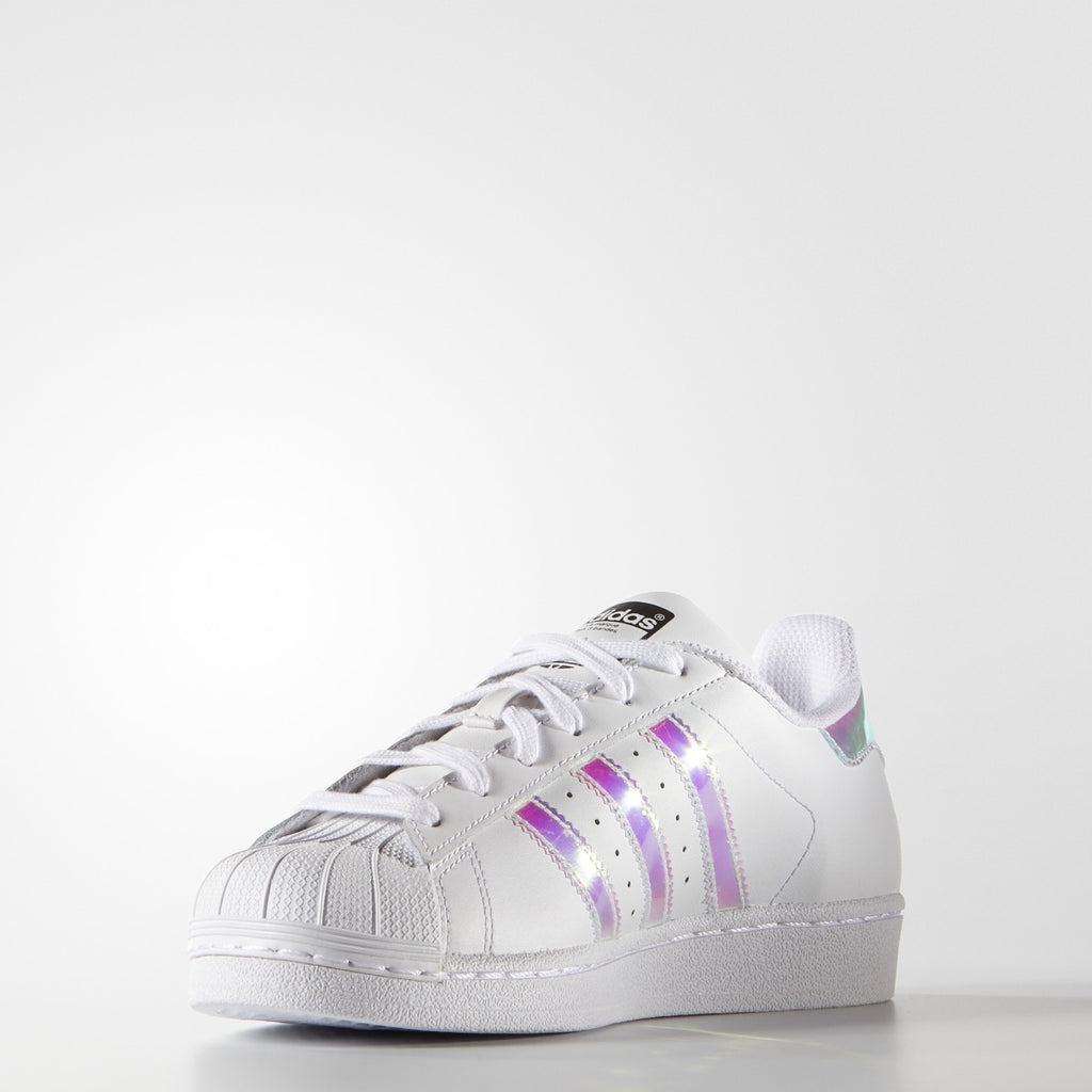 Kids adidas Superstar Shoes White Hologram Iridescent AQ6278 | Chicago City Sports | front view