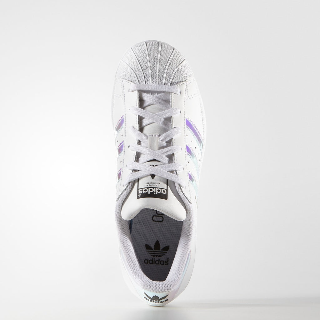 Kids adidas Superstar Shoes White Hologram Iridescent AQ6278 | Chicago City Sports | top view