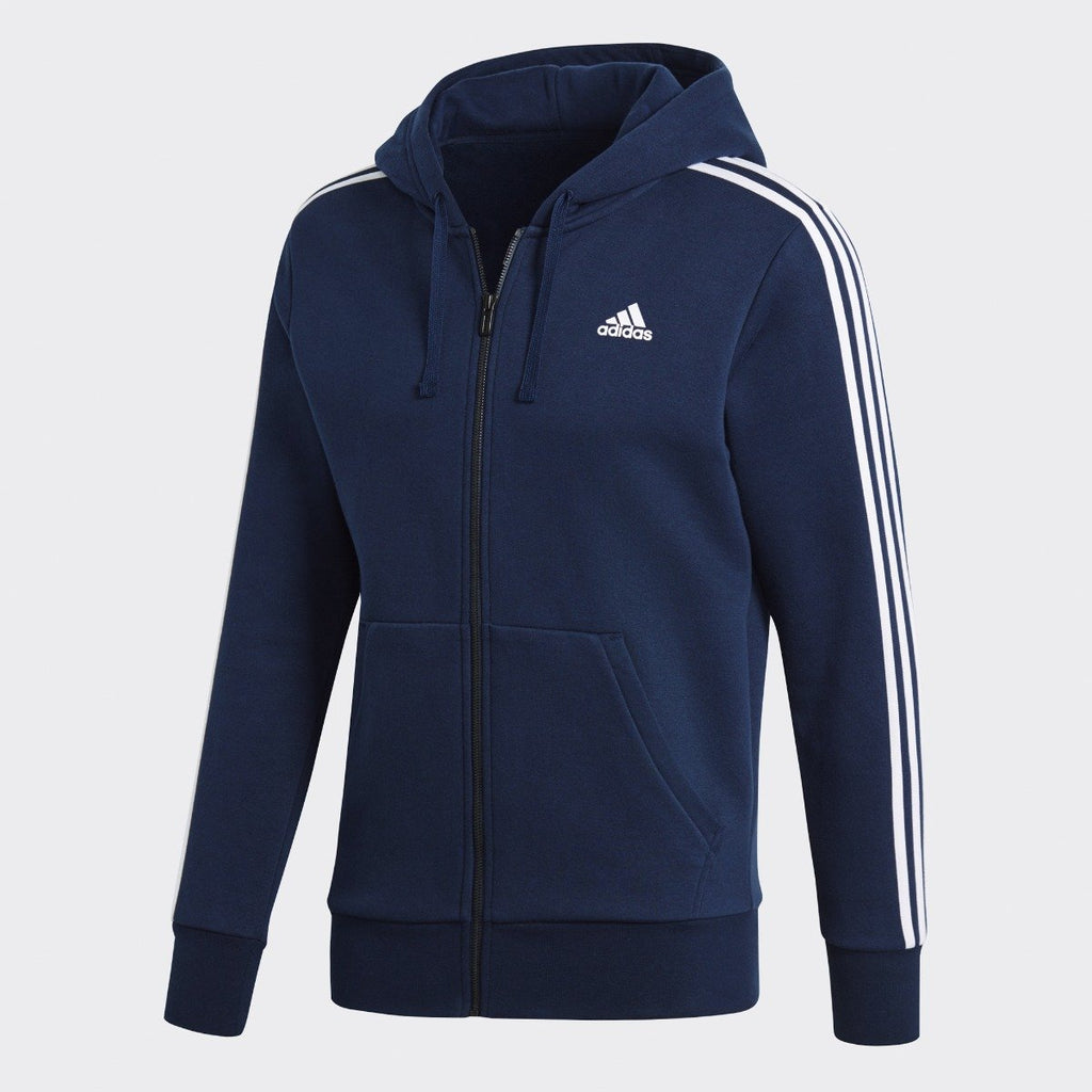 Men's adidas Athletics Essentials 3-Stripes Fleece Hoodie Collegiate Navy