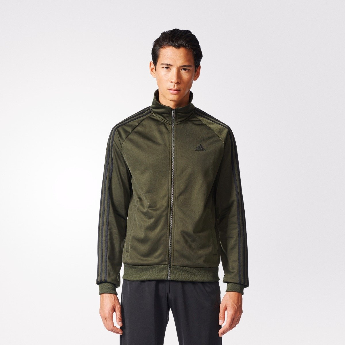 b2086dc1317c Men s adidas Athletics Essentials 3-Stripes Track Jacket Night Cargo ...