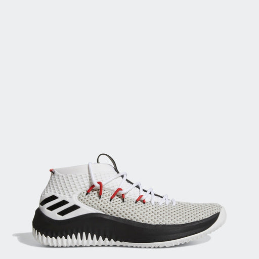 Men's adidas Dame 4 Basketball Shoes White Black with Scarlet