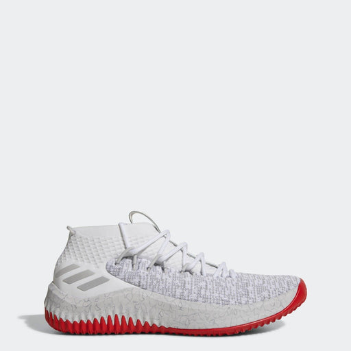 Men's adidas Dame 4 Basketball Shoes White Gray and Scarlet