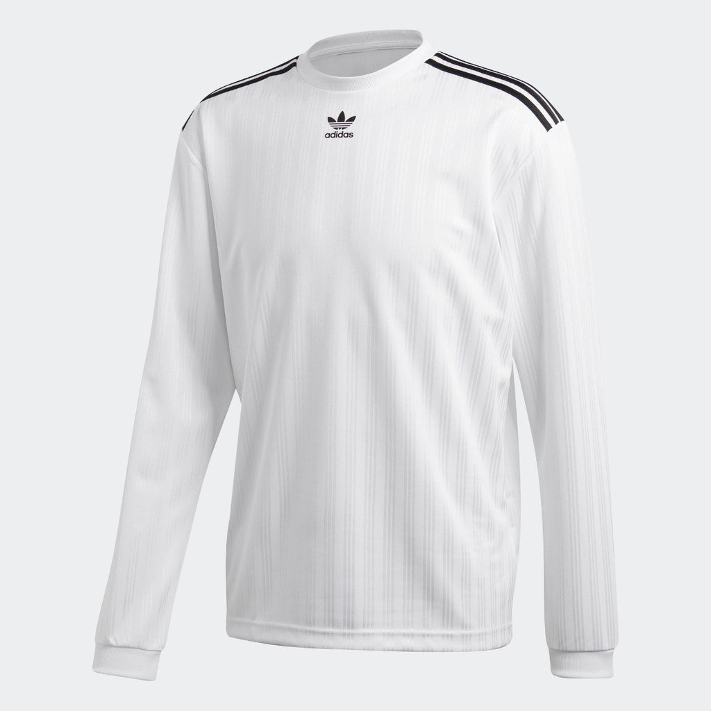 Men's adidas Originals 3-Stripes Long Sleeve Jersey White CW1225 | Chicago City Sports | front view