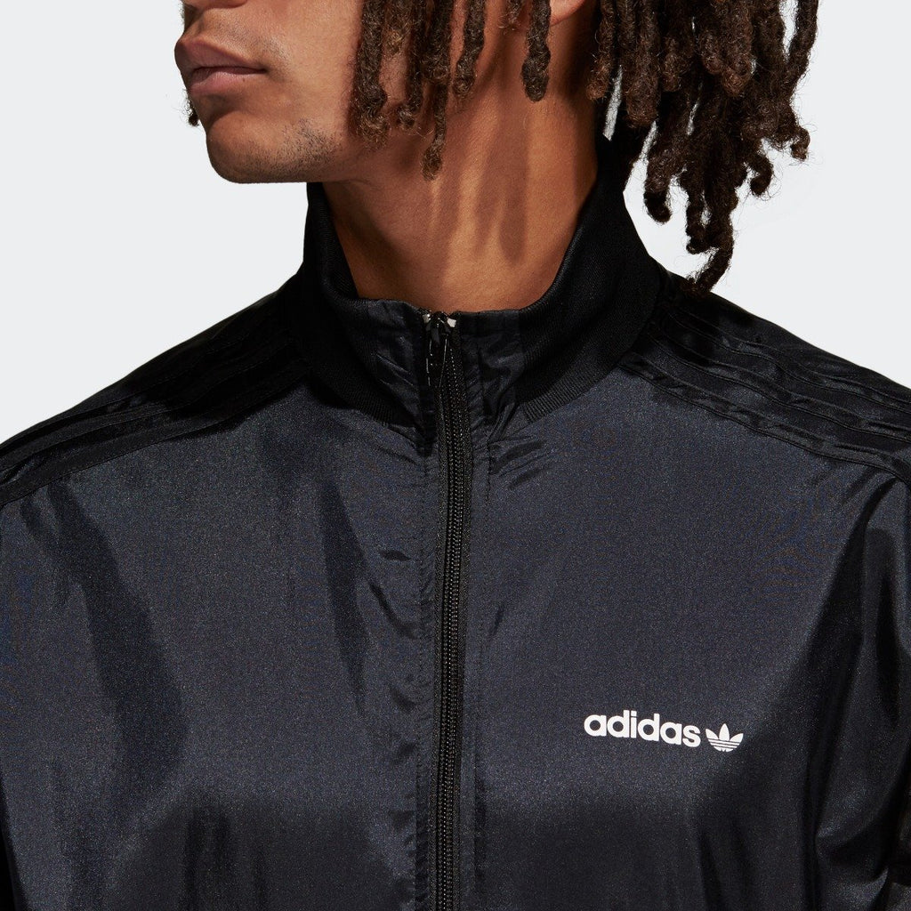 Men's adidas Originals CLR-84 Woven Track Jacket Black CV4603 | Chicago City Sports | front zipper view