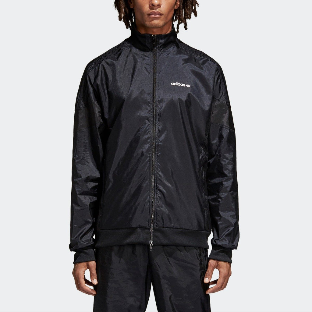 Men's adidas Originals CLR-84 Woven Track Jacket Black CV4603 | Chicago City Sports | front view on model