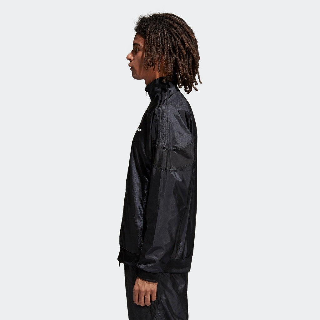 Men's adidas Originals CLR-84 Woven Track Jacket Black CV4603 | Chicago City Sports | side view on model