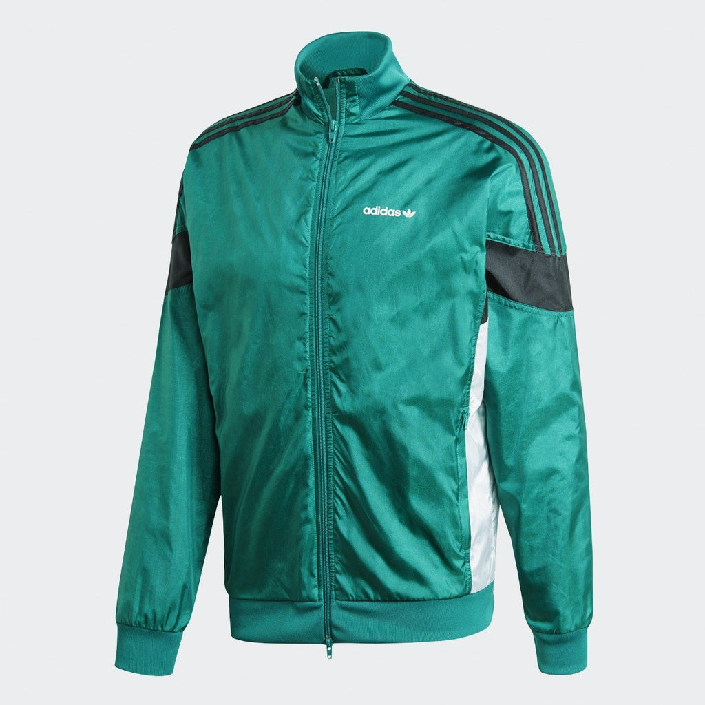 Men's adidas Originals CLR-84 Woven Track Jacket Sub Green CV4604 | Chicago City Sports | front view
