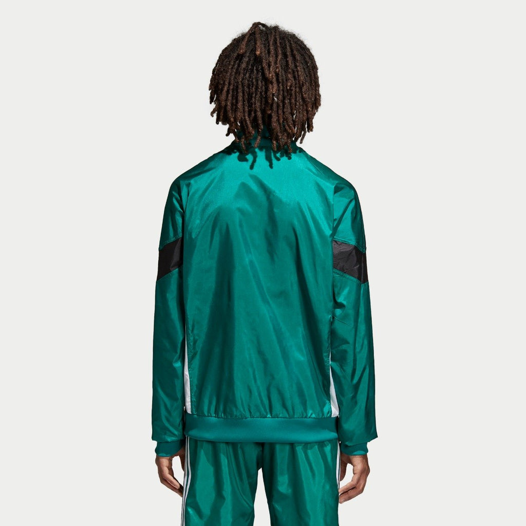 Men's adidas Originals CLR-84 Woven Track Jacket Sub Green CV4604 | Chicago City Sports | rear view on model