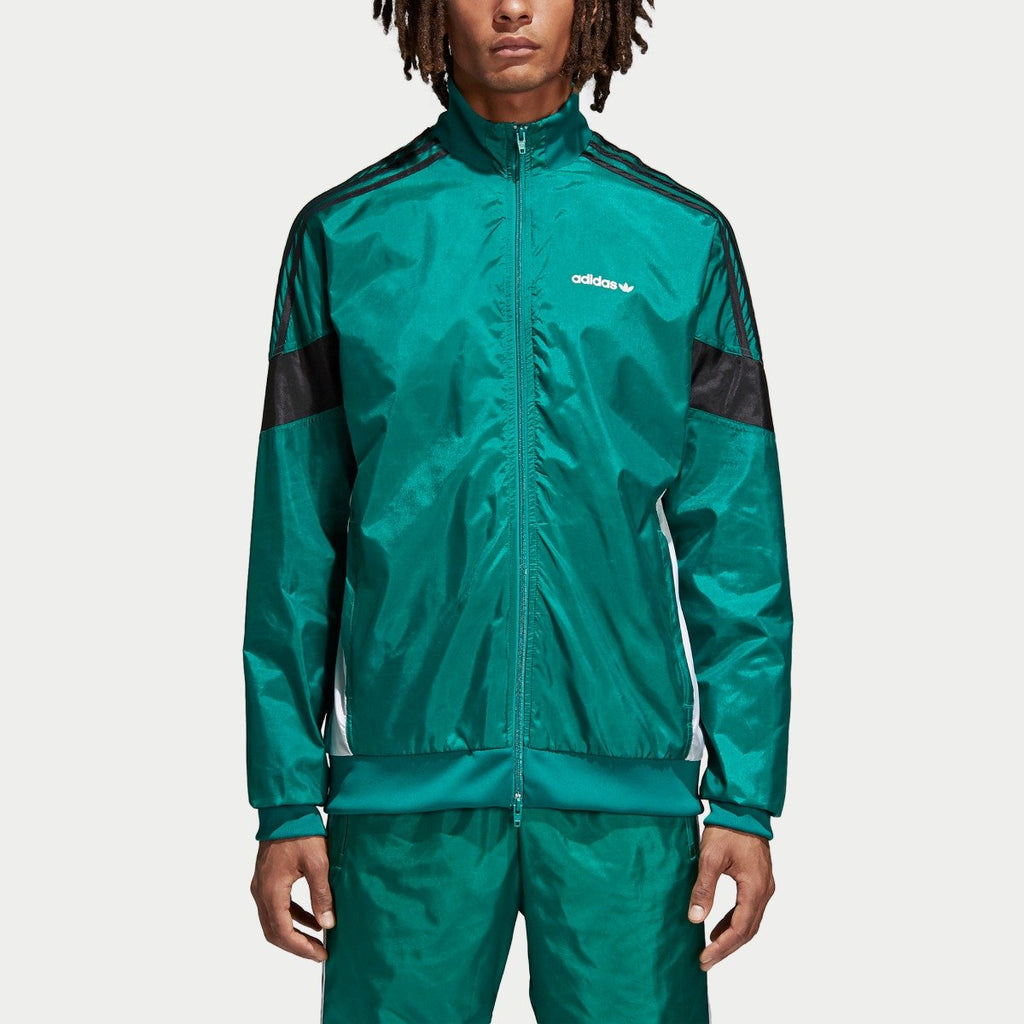 Men's adidas Originals CLR-84 Woven Track Jacket Sub Green CV4604 | Chicago City Sports | front view on model