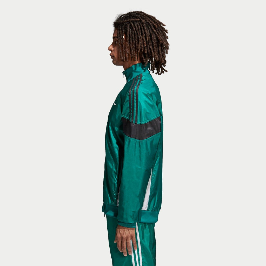 Men's adidas Originals CLR-84 Woven Track Jacket Sub Green CV4604 | Chicago City Sports | side view on model