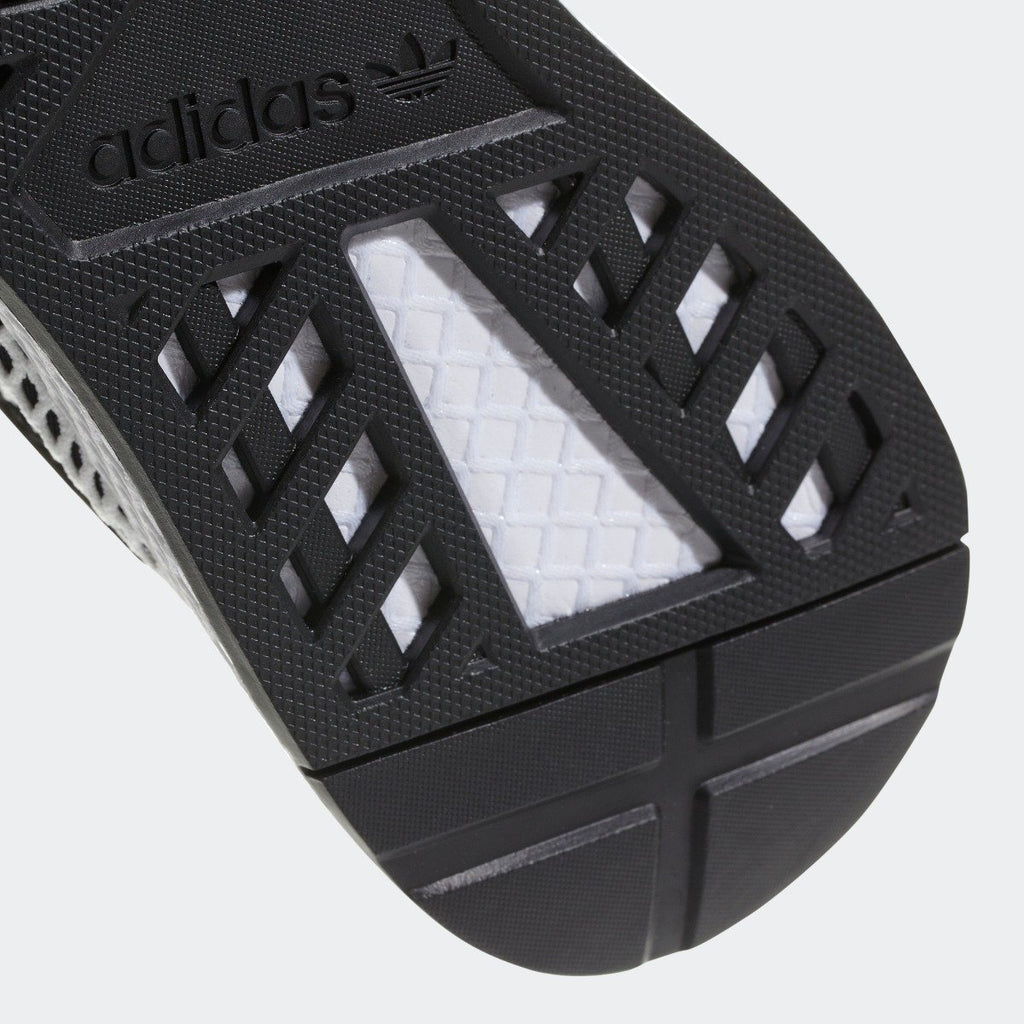 Men's adidas Originals Deerupt Runner Shoes Core Black and White CQ2626 | Chicago City Sports | bottom view