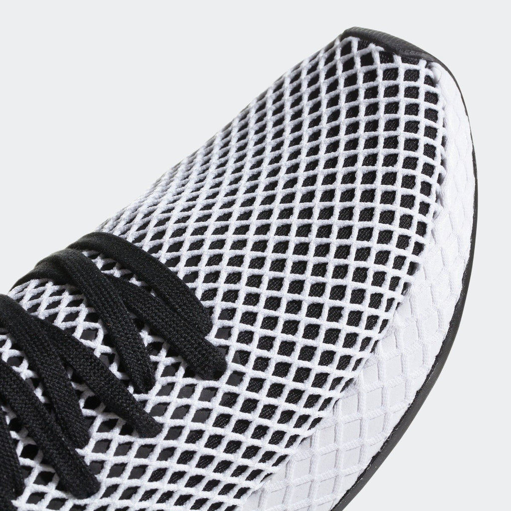 Men's adidas Originals Deerupt Runner Shoes Core Black and White CQ2626 | Chicago City Sports | toe area view