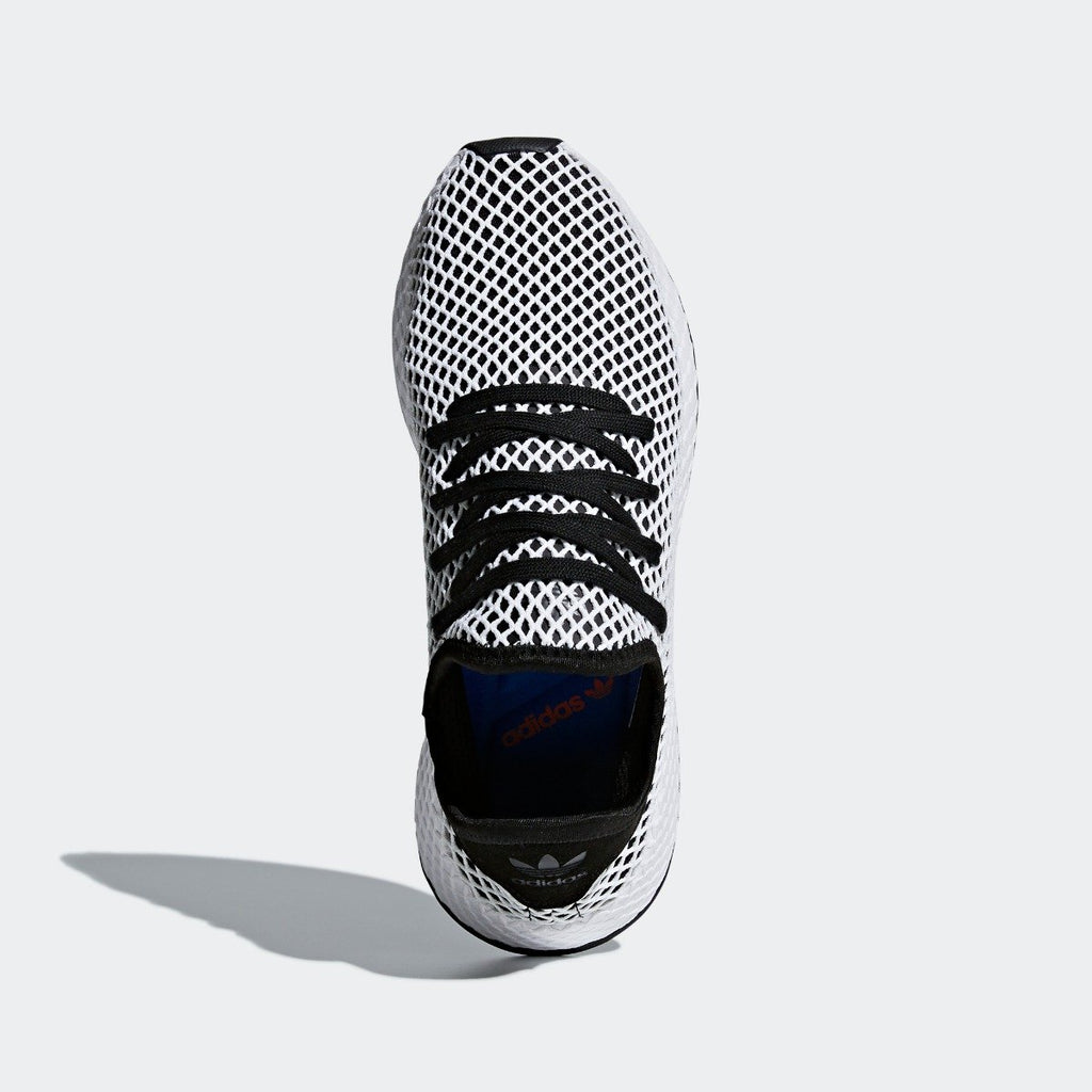 Men's adidas Originals Deerupt Runner Shoes Core Black and White CQ2626 | Chicago City Sports | top view