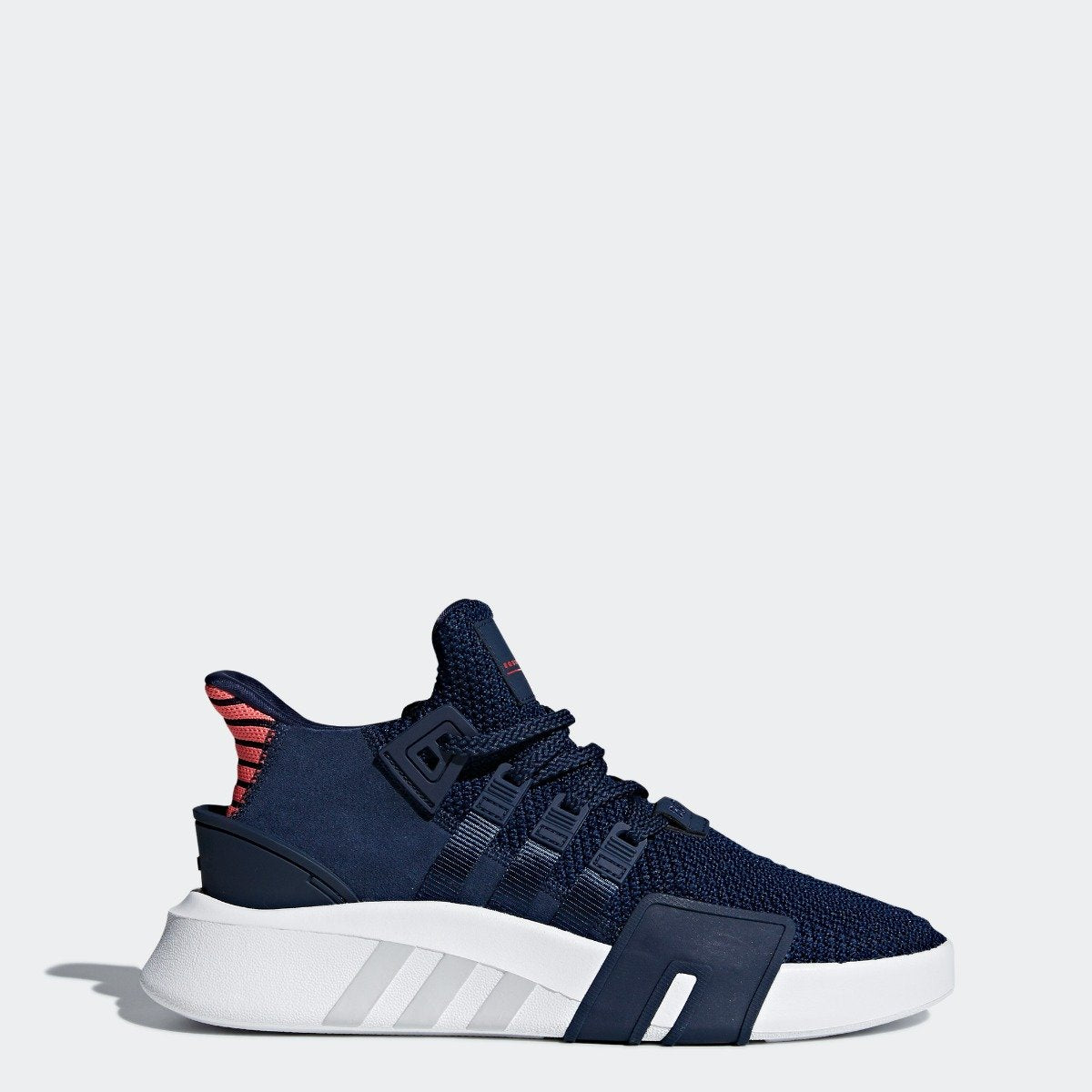 half off ff4b0 6af9c Mens adidas Originals EQT Bask ADV Shoes Collegiate Navy with Real Coral