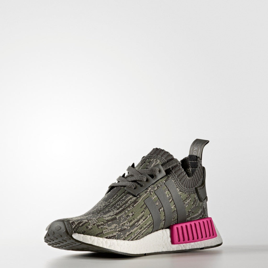 Men's adidas Originals NMD_R1 Primeknit Shoes Utility Gray and Shock Pink