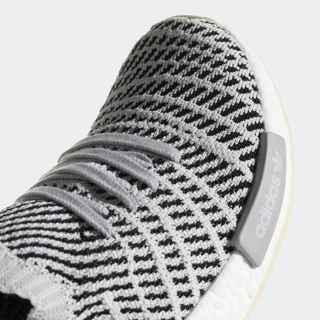 Mens adidas NMD_R1 STLT Primeknit Shoes Grey Black CQ2387 | Chicago City Sports | toe area view