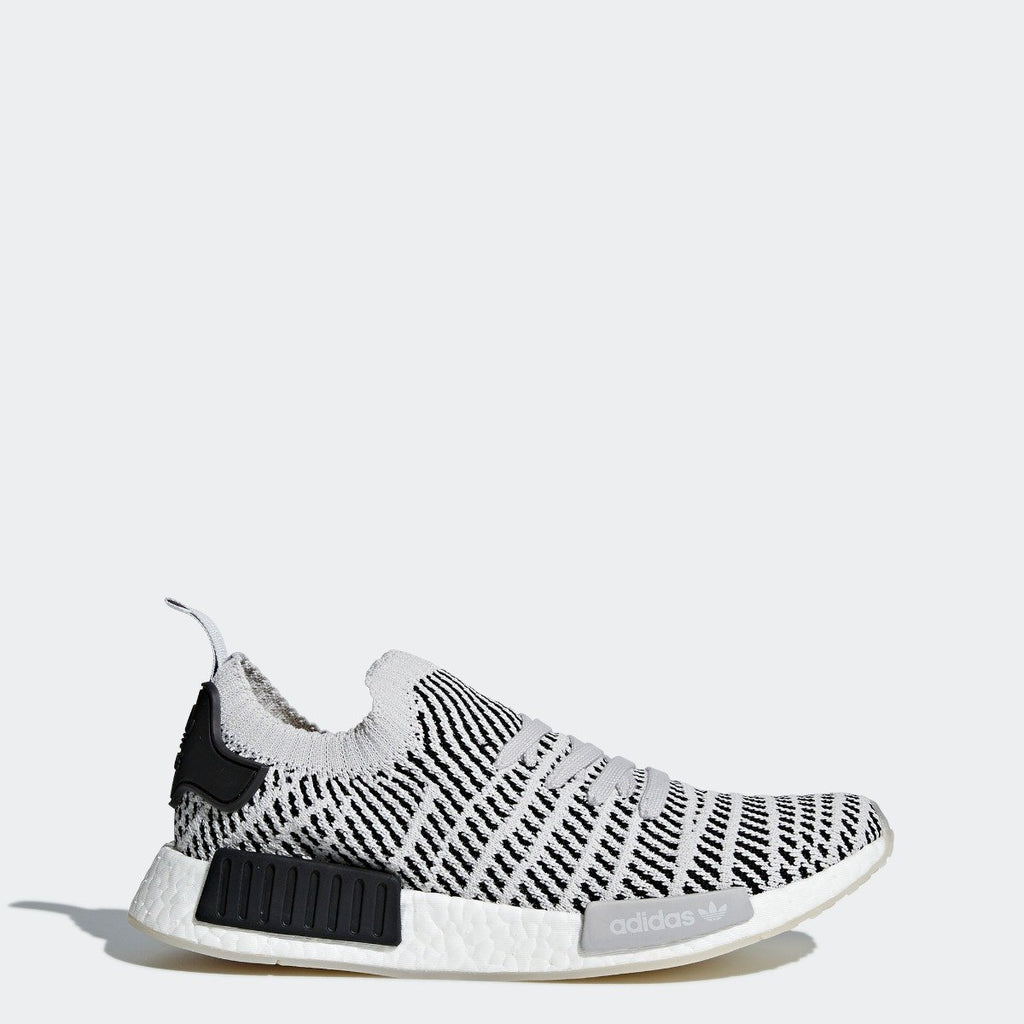 Mens adidas NMD_R1 STLT Primeknit Shoes Grey Black CQ2387 | Chicago City Sports | side view