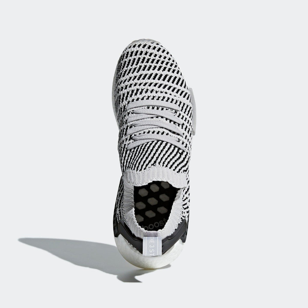 Mens adidas NMD_R1 STLT Primeknit Shoes Grey Black CQ2387 | Chicago City Sports | top view