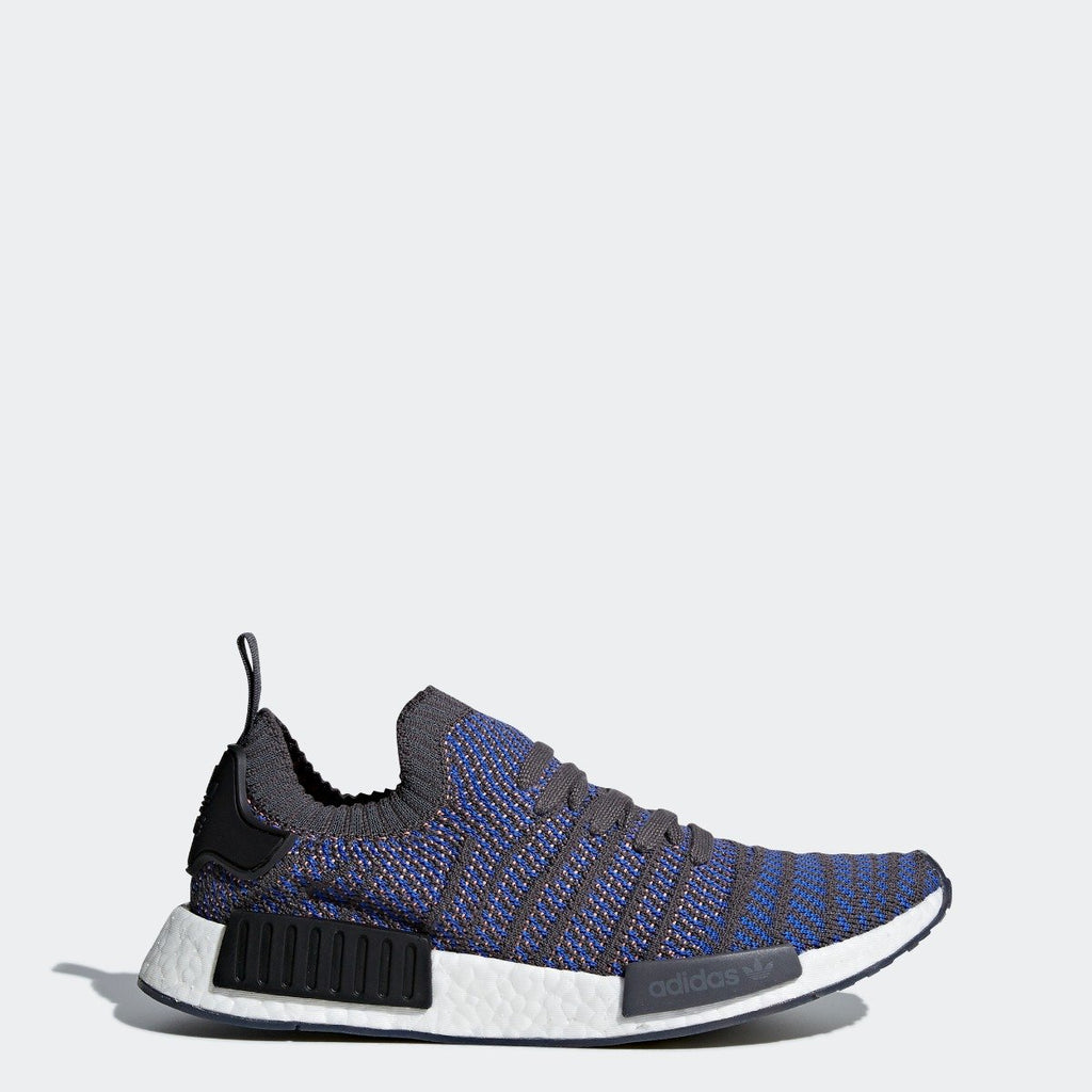 Mens adidas NMD_R1 STLT Primeknit Shoes Blue CQ2388 | Chicago City Sports | side view