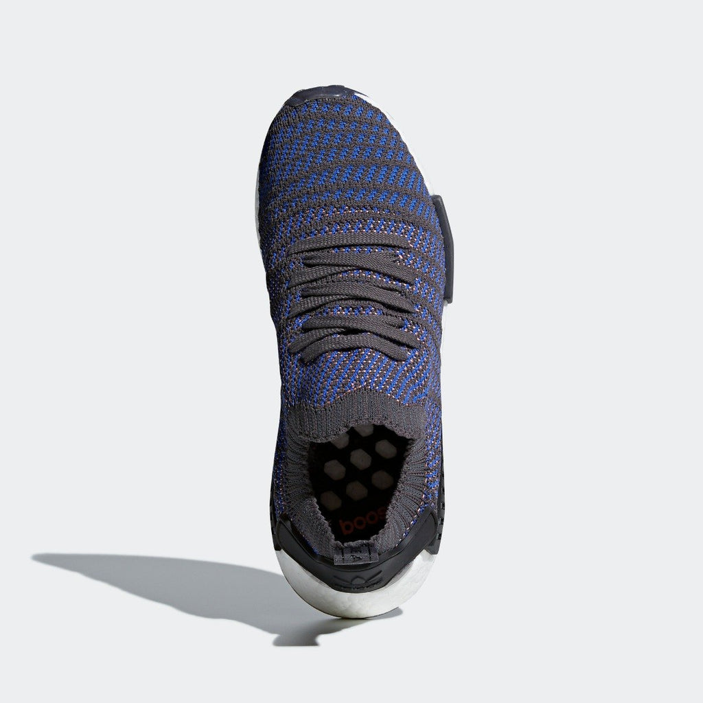 Mens adidas NMD_R1 STLT Primeknit Shoes Blue CQ2388 | Chicago City Sports | top view