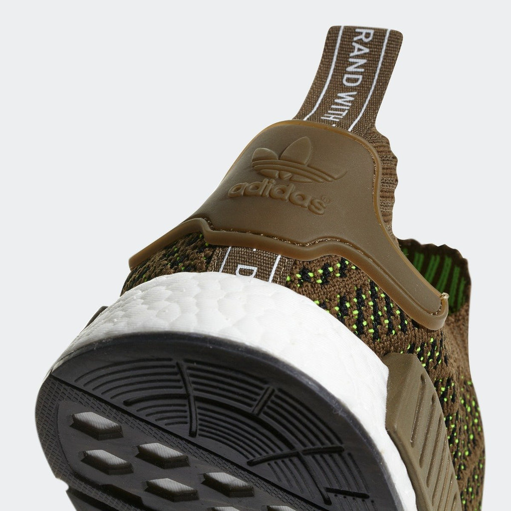 Mens adidas NMD_R1 STLT Primeknit Shoes Olive CQ2389 | Chicago City Sports | rear view