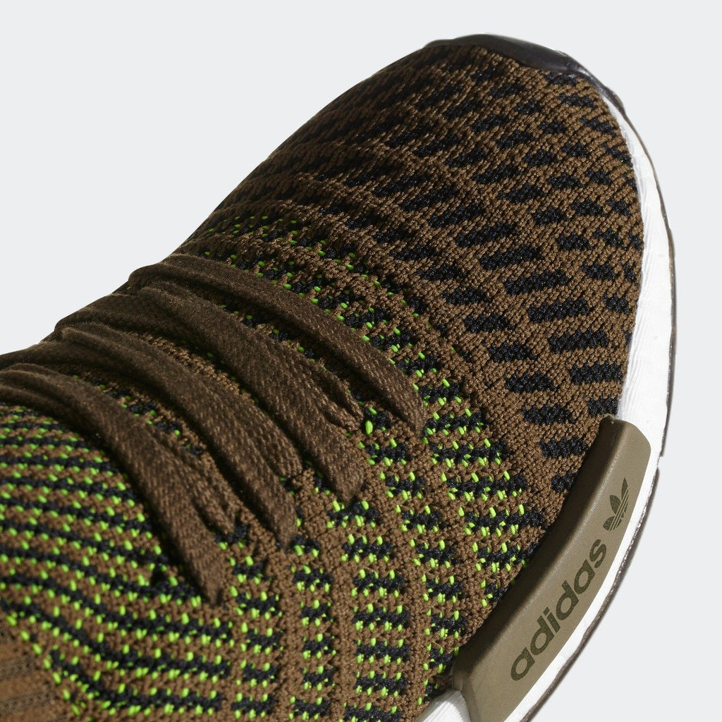 Mens adidas NMD_R1 STLT Primeknit Shoes Olive CQ2389 | Chicago City Sports | toe area view