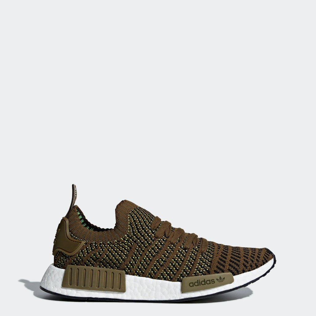 Mens adidas NMD_R1 STLT Primeknit Shoes Olive CQ2389 | Chicago City Sports | side view