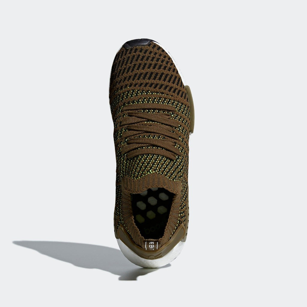 Mens adidas NMD_R1 STLT Primeknit Shoes Olive CQ2389 | Chicago City Sports | top view