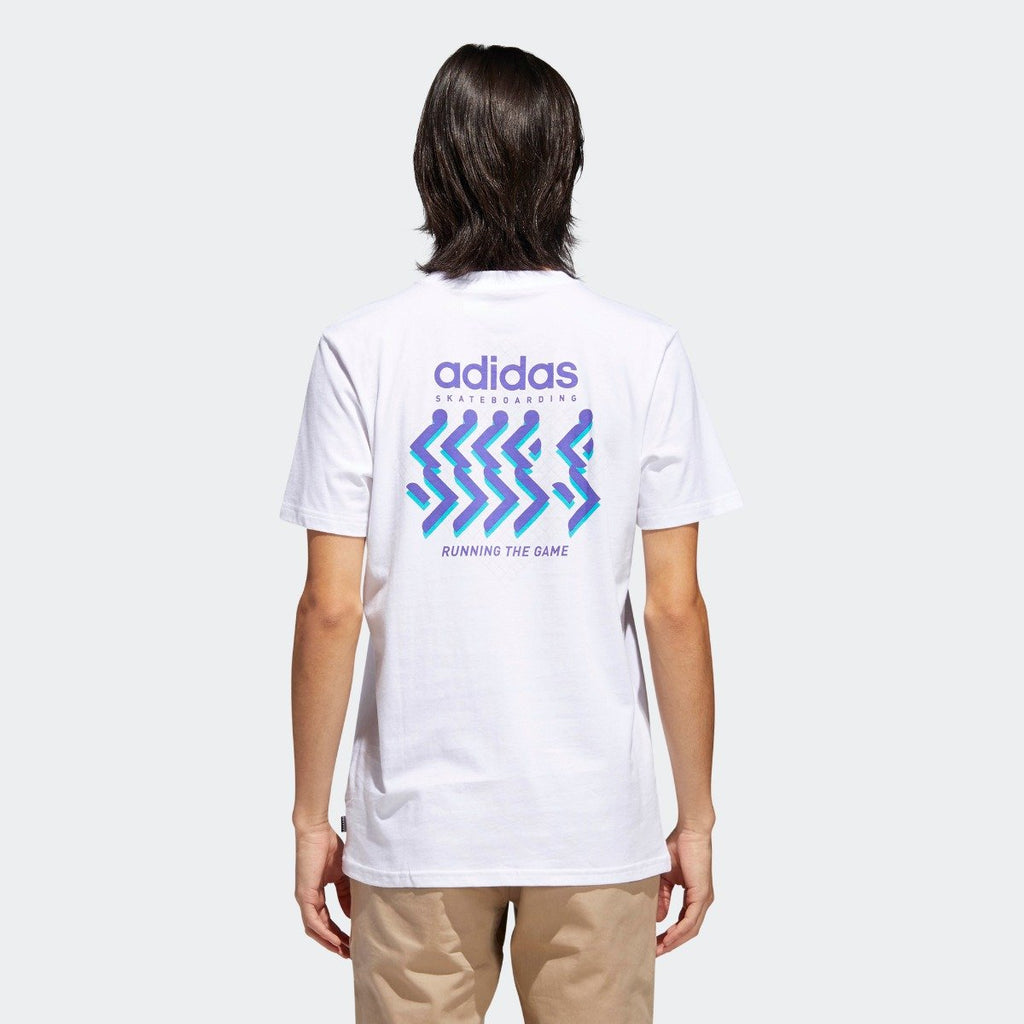 Men's adidas Originals Running the Game Tee White CF5829 | Chicago City Sports | rear view on model