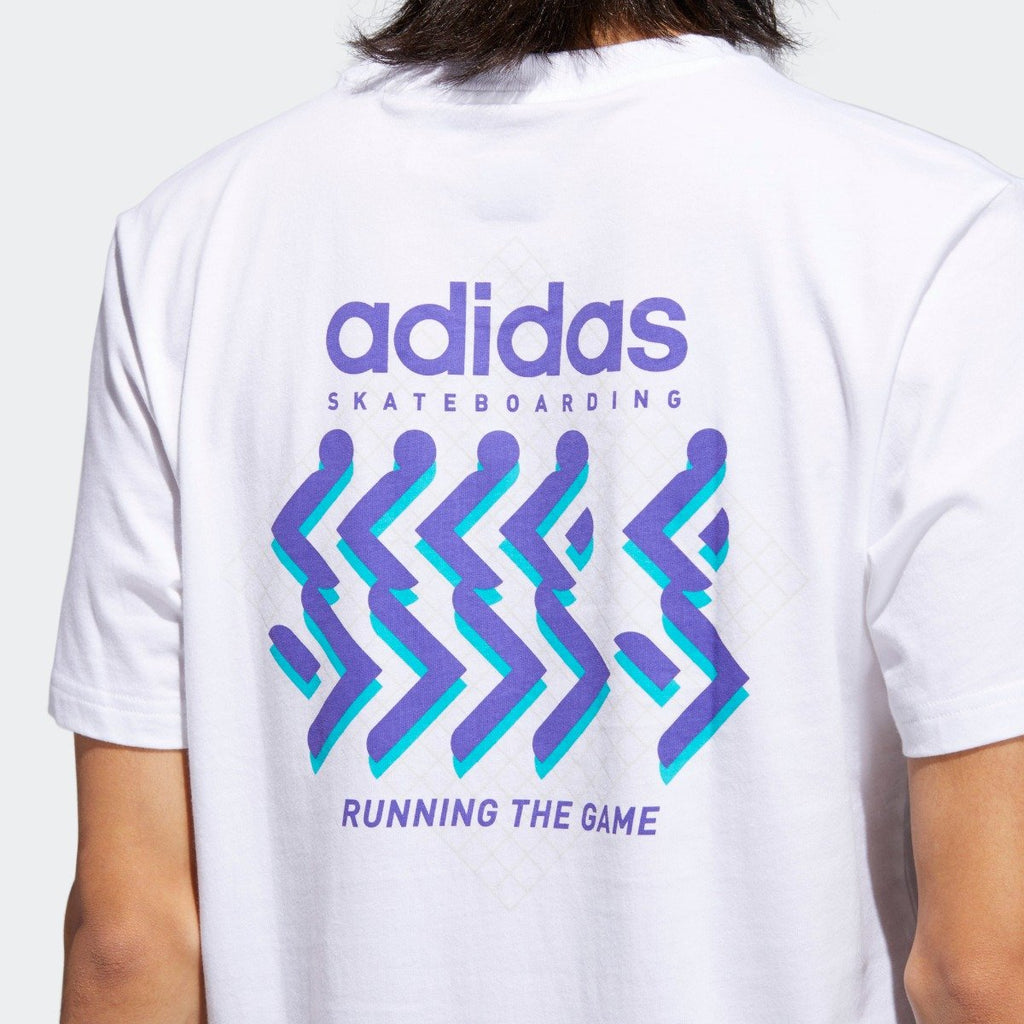Men's adidas Originals Running the Game Tee White CF5829 | Chicago City Sports | rear view