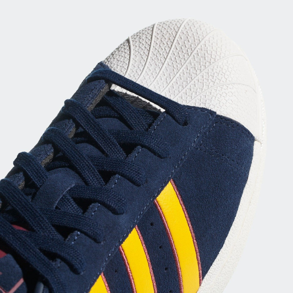 Men's adidas Originals Superstar Shoes Collegiate Navy and Yellow CM8080 | Chicago City Sports | toe area view