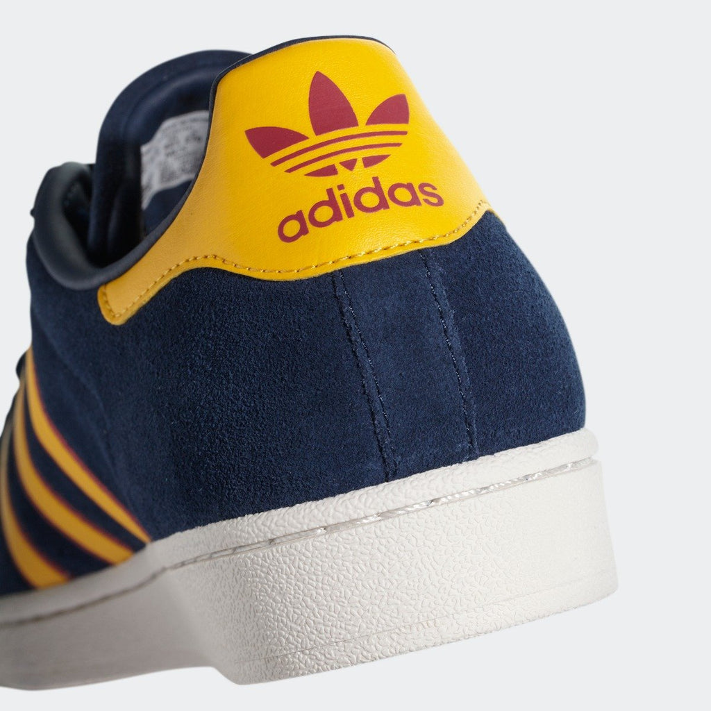 Men's adidas Originals Superstar Shoes Collegiate Navy and Yellow CM8080 | Chicago City Sports | heel tab view