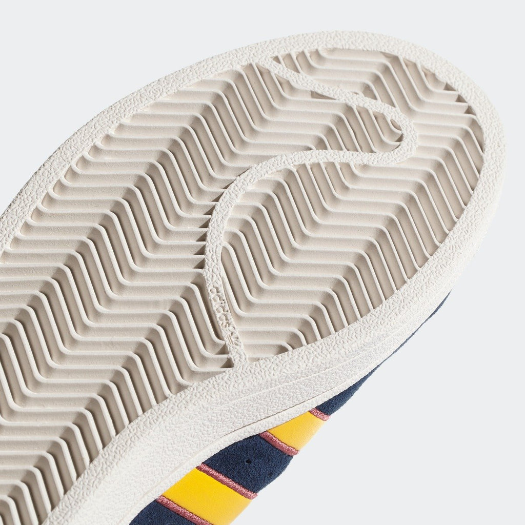 Men's adidas Originals Superstar Shoes Collegiate Navy and Yellow CM8080 | Chicago City Sports | bottom view