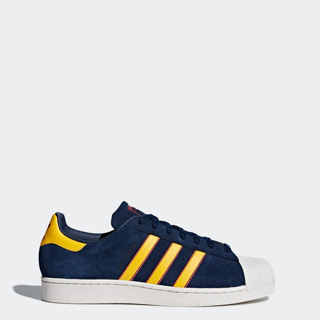 Men's adidas Originals Superstar Shoes Collegiate Navy and Yellow CM8080 | Chicago City Sports | side view