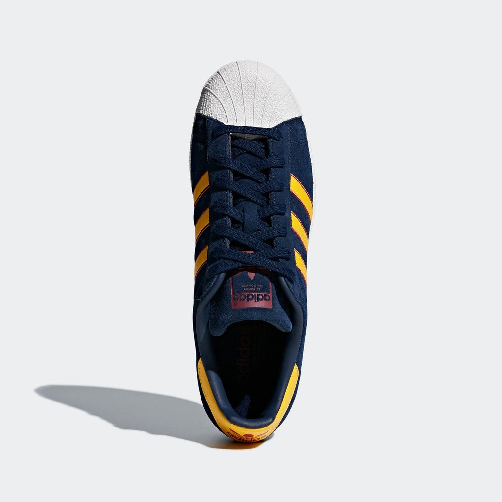 Men's adidas Originals Superstar Shoes Collegiate Navy and Yellow CM8080 | Chicago City Sports | top view