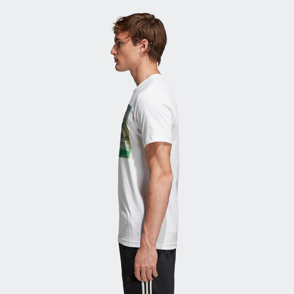 Men's adidas Originals Traction in Action Photo Tee White CE2249 | Chicago City Sports | side view on model
