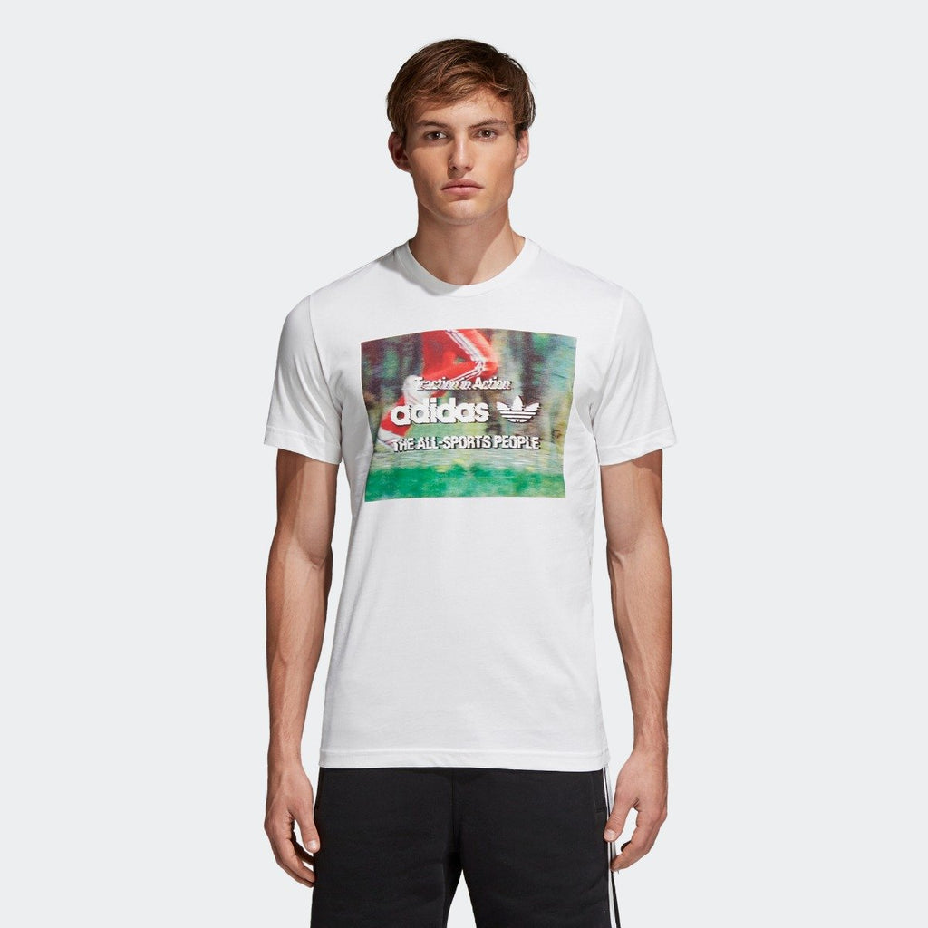Men's adidas Originals Traction in Action Photo Tee White CE2249 | Chicago City Sports | front view on model