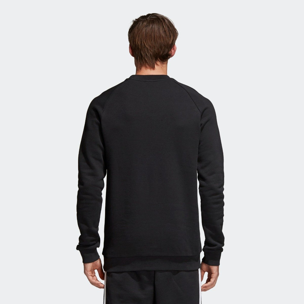 Men's adidas Originals Trefoil Crew Sweatshirt Black with White CW1235 | Chicago City Sports | rear view on model