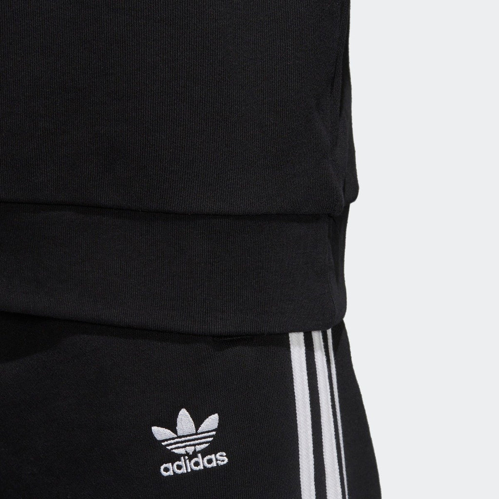 Men's adidas Originals Trefoil Crew Sweatshirt Black with White CW1235 | Chicago City Sports | close-up view of hem