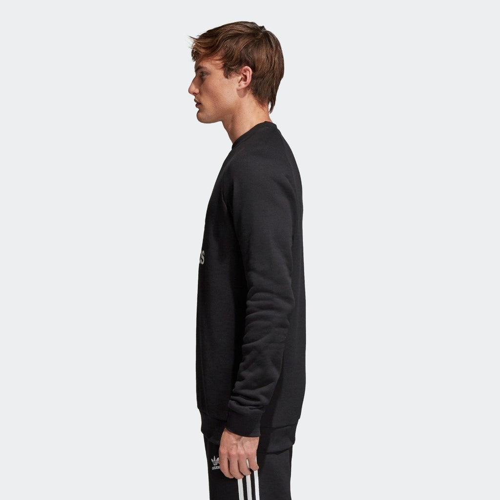 Men's adidas Originals Trefoil Crew Sweatshirt Black with White CW1235 | Chicago City Sports | side view on model