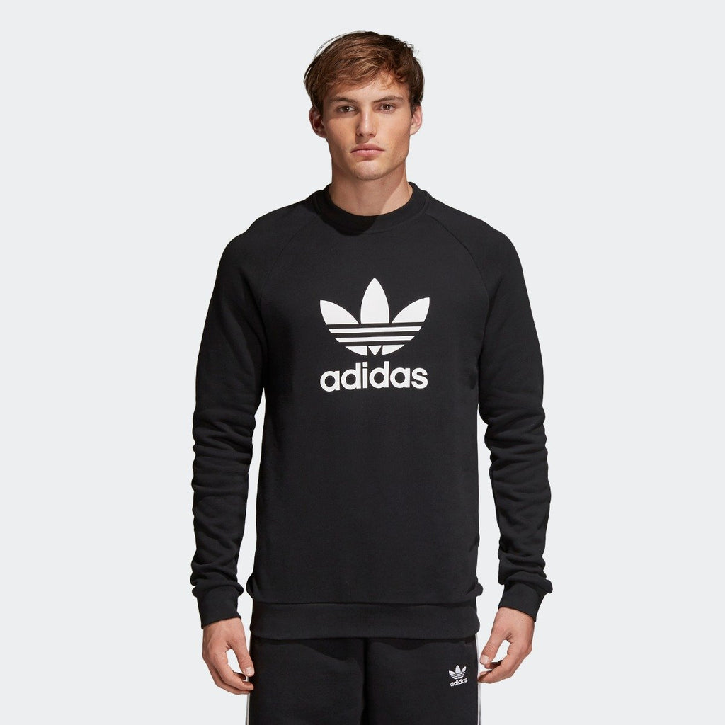 Men's adidas Originals Trefoil Crew Sweatshirt Black with White CW1235 | Chicago City Sports | front view on model