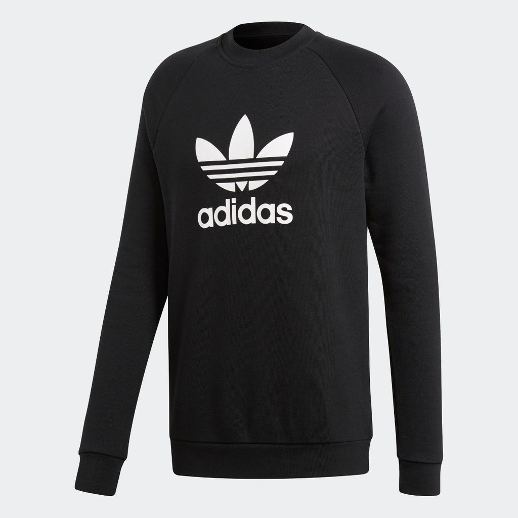 Men's adidas Originals Trefoil Crew Sweatshirt Black with White CW1235 | Chicago City Sports | front view