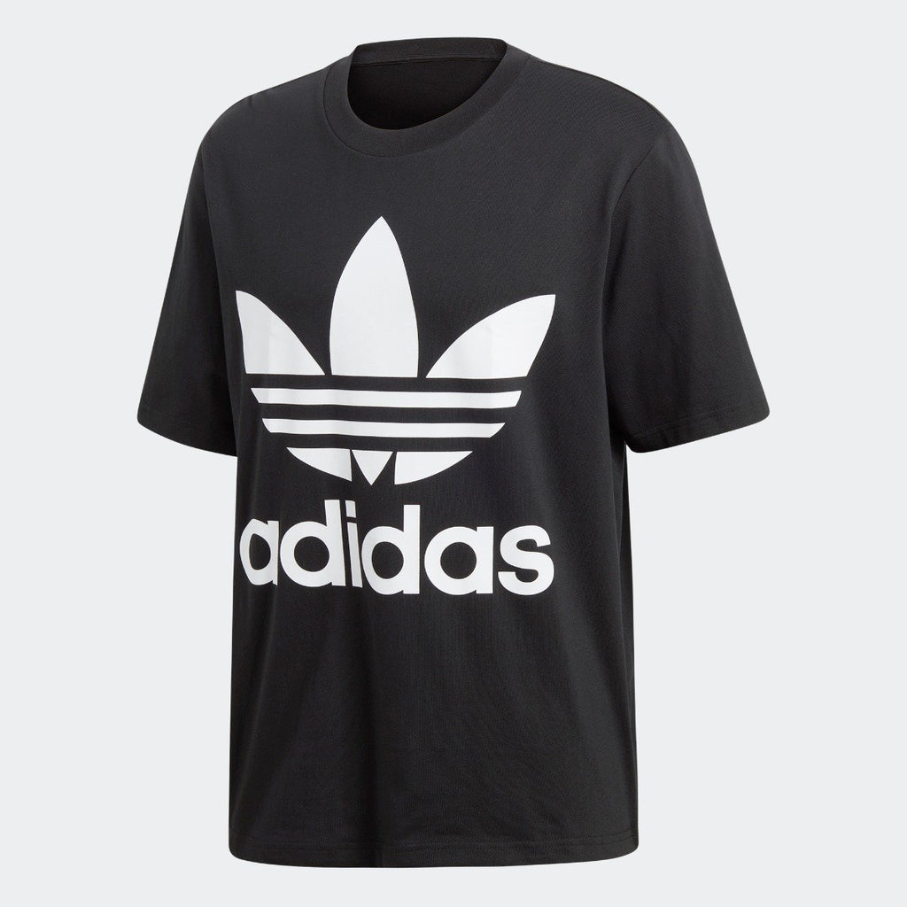 Men's adidas Trefoil Oversize Tee Black White CW1211 | Chicago City Sports | front view
