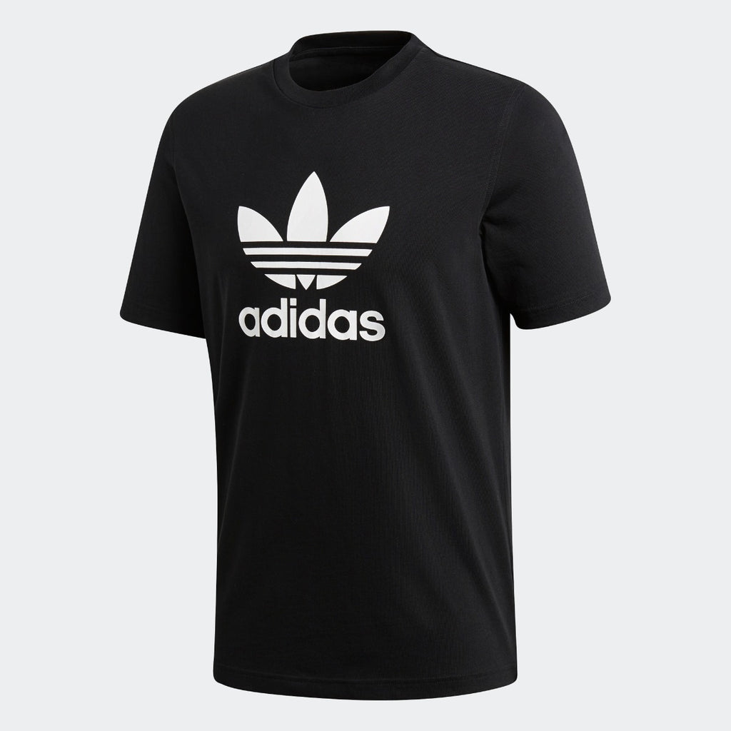Men's adidas Trefoil Tee Black with White CW0709 | Chicago City Sports | front view
