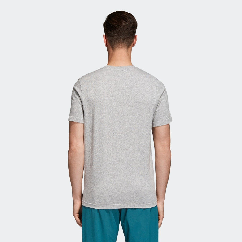 Men's adidas Trefoil Tee Medium Grey Heather CY4574 | Chicago City Sports | rear view