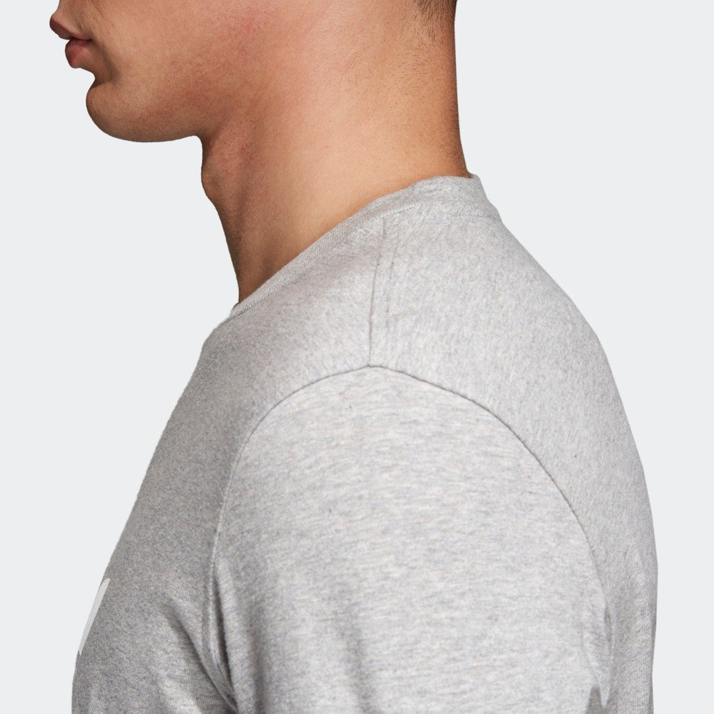 Men's adidas Trefoil Tee Medium Grey Heather CY4574 | Chicago City Sports | side view on model
